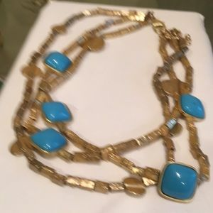 Gold tone choker with turquoise stones